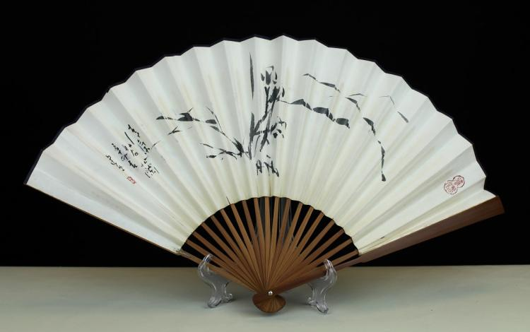 FOLDING FAN WITH PAINTINGNS, ATTRIBUTED TO PAN JIAN-YE
