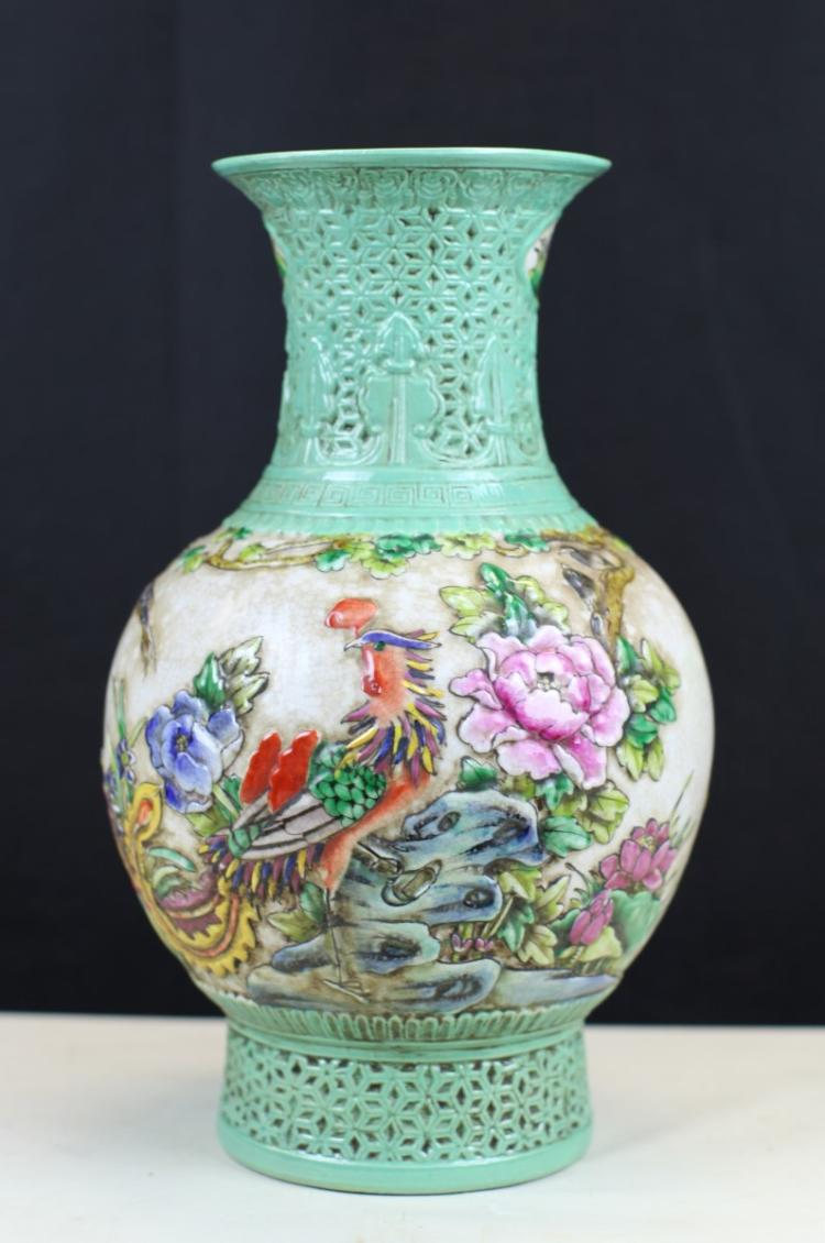 FAMILLE ROSE PORCELAIN VASE WITH RELIEF