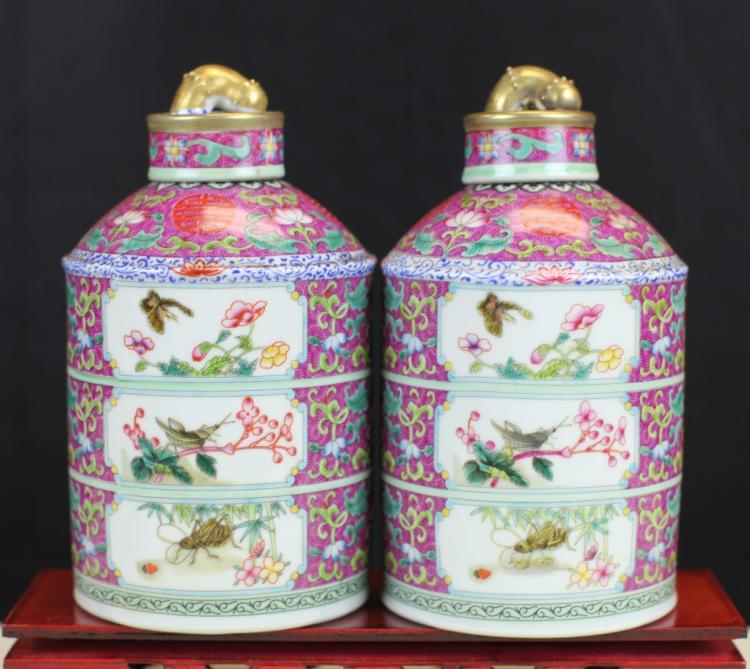 PAIR OF FAMILLE ROSE PORCELAIN COVERED POTS