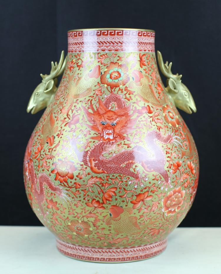 VERY RARE FAMILLE ROSE PORCELAIN DRAGON VASE