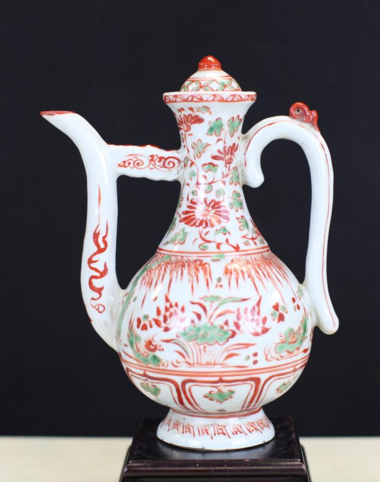 POLYCHROME PORCELAIN WINE POT