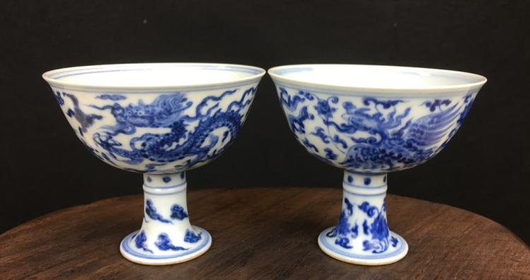 PAIR OF BLUE AND WHITE PORCELAIN HIGH-FOOT CUPS