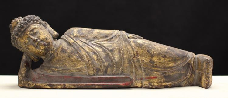 PAINTED HARD WOOD BUDDHA STATUE