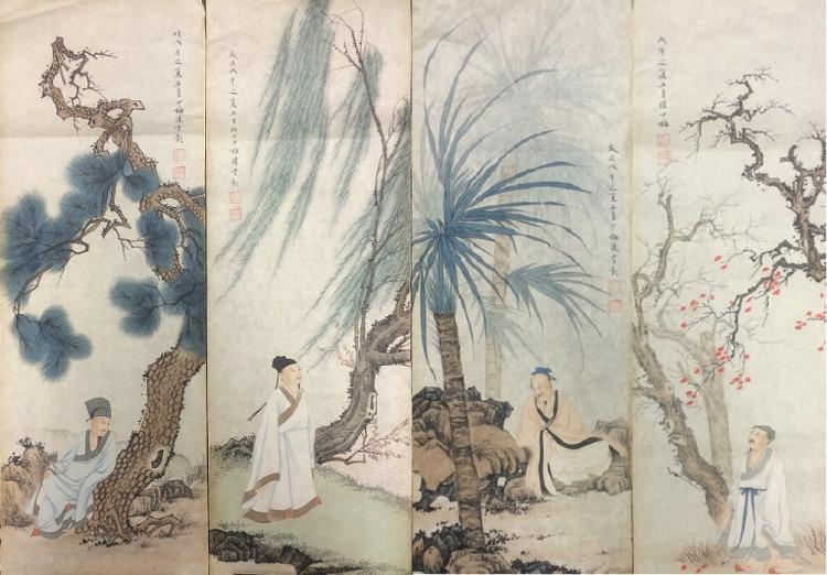 FOUR PAINTINGS ON PAPER,  ATTRIBUTED TO CHEN SHAO MEI