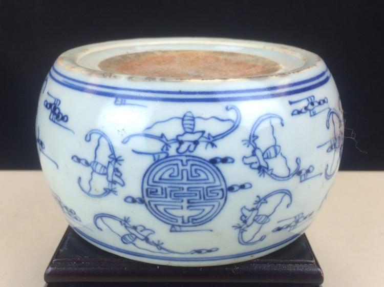 BLUE AND WHITE PORCELAIN INKSTONE