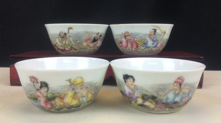SET OF FOUR FAMILLE ROSE BOWLS