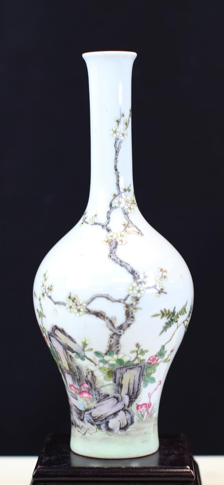 FAMILLE ROSE PORCELAIN LONG NECK VASE