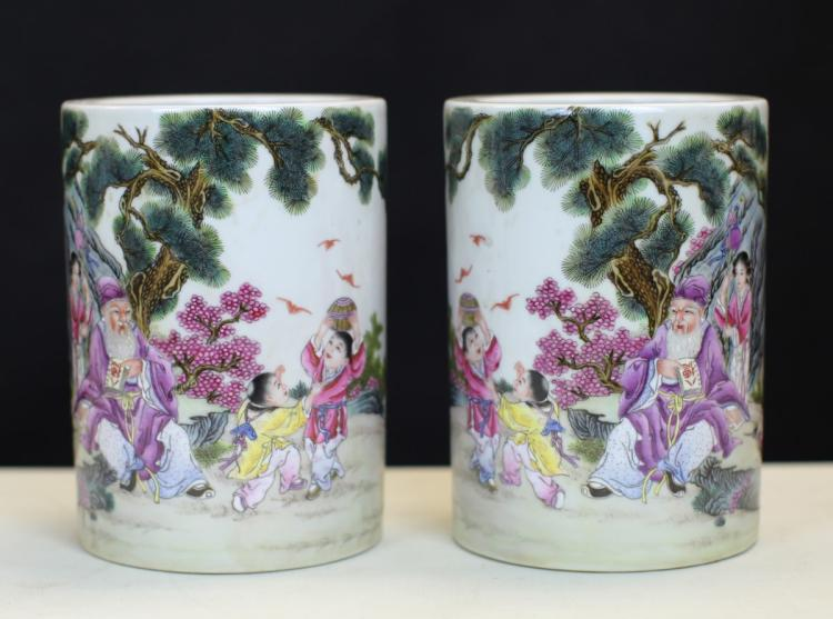 PAIR OF FAMILLE ROSE PORCELAIN BRUSH POTS