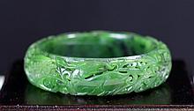 HOLLOW CARVED GREEN JADE BRACELET