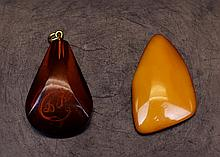 VINTAGE BALTIC AMBER PENDANT AND BUTTERSCOTCH AMBER PENDANT