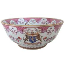 Late 19th Century Chinese Export Armorial Style Porcelain Punch Bowl by Samson & Cie of Paris