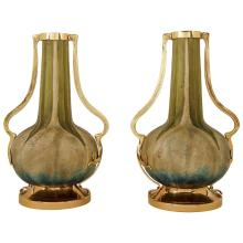 Paul Dachsel (Attr.) Riessner, Stellmacher & Kessel Amphora Pottery Vase Pair with Gilt Metal Mounts