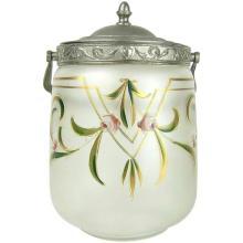 Antique Glass Biscuit Barrel with Art Nouveau Enamel Decoration