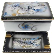 Vintage Moriage Dragonware Japanese Cigarette Box with Two Ashtrays