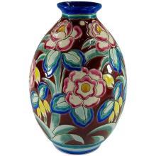 Boch Freres Keramis Large Art Deco Vase