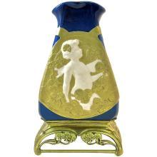 Antique French Porcelain Vase with Paul Louchet Gilt Bronze Base