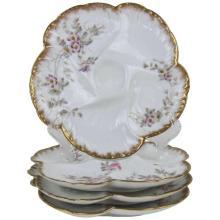 Antique French Limoges Porcelain Oyster Plates CFH / GDM Gerard Dufraisseix and Morel