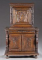 1 door oak cabinet, heavily carved w/ 2 door cab.