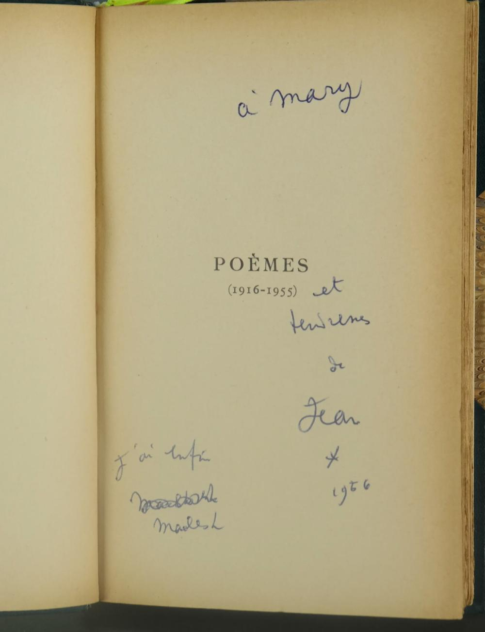 Lot 213: Cocteau. Poemes. 1916-1955. Sgd/inscr/illus.