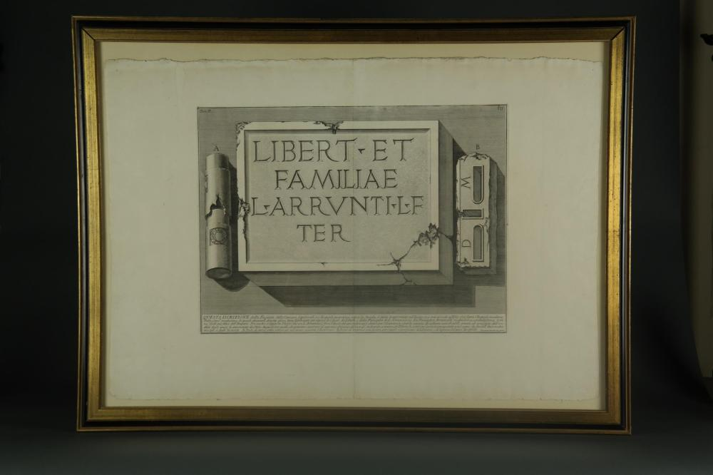 Lot 357: Piranesi. Iscrizione dalle Camere... ca. 1756.