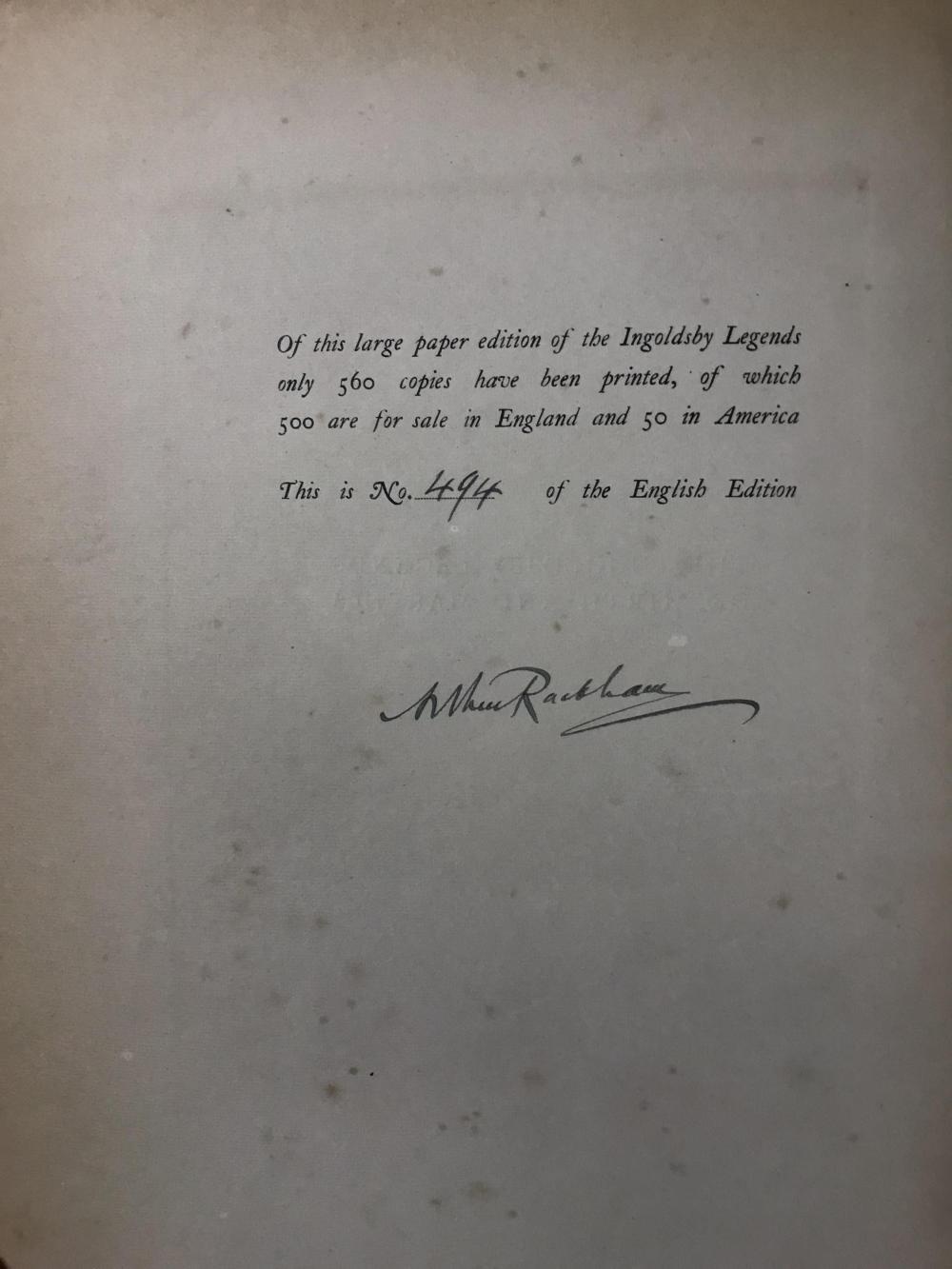 Lot 262: Rackham. Ingoldsby Legends. 1907. 494/500. Sgd.