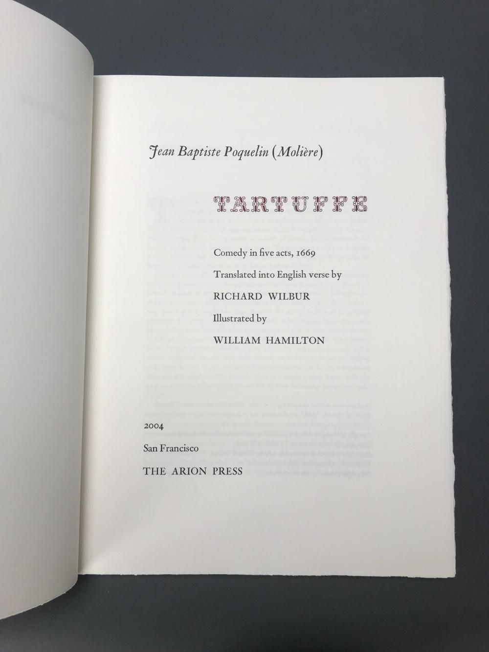 Lot 198: Arion Press. Tartuffe. Number 70 of 300. Signed.
