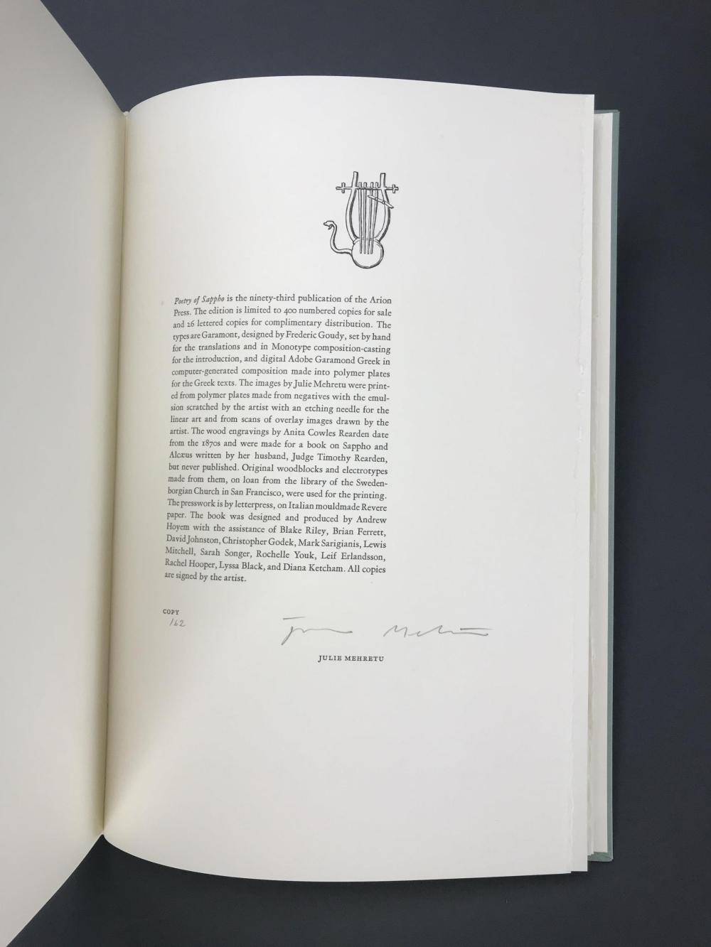 Lot 199: Arion Press. Sappho. 2011. #162/400.