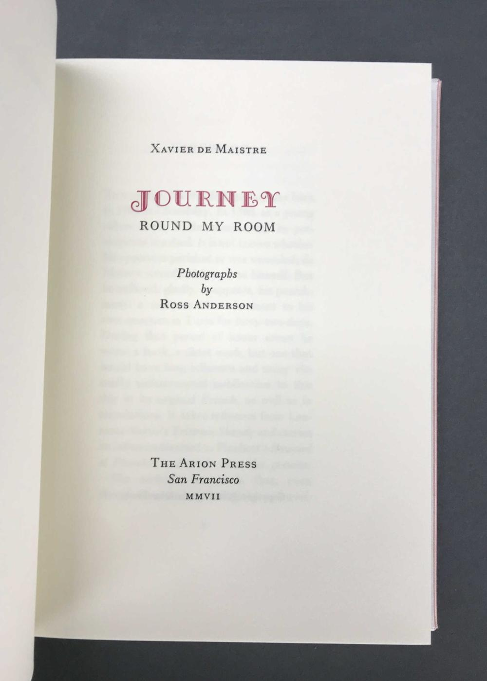 Lot 195: Arion Press. Journey Round My Room. #211 of 300.