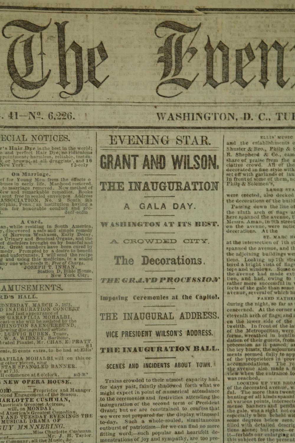 Lot 325: The Evening Star. 153 issues. 1873.