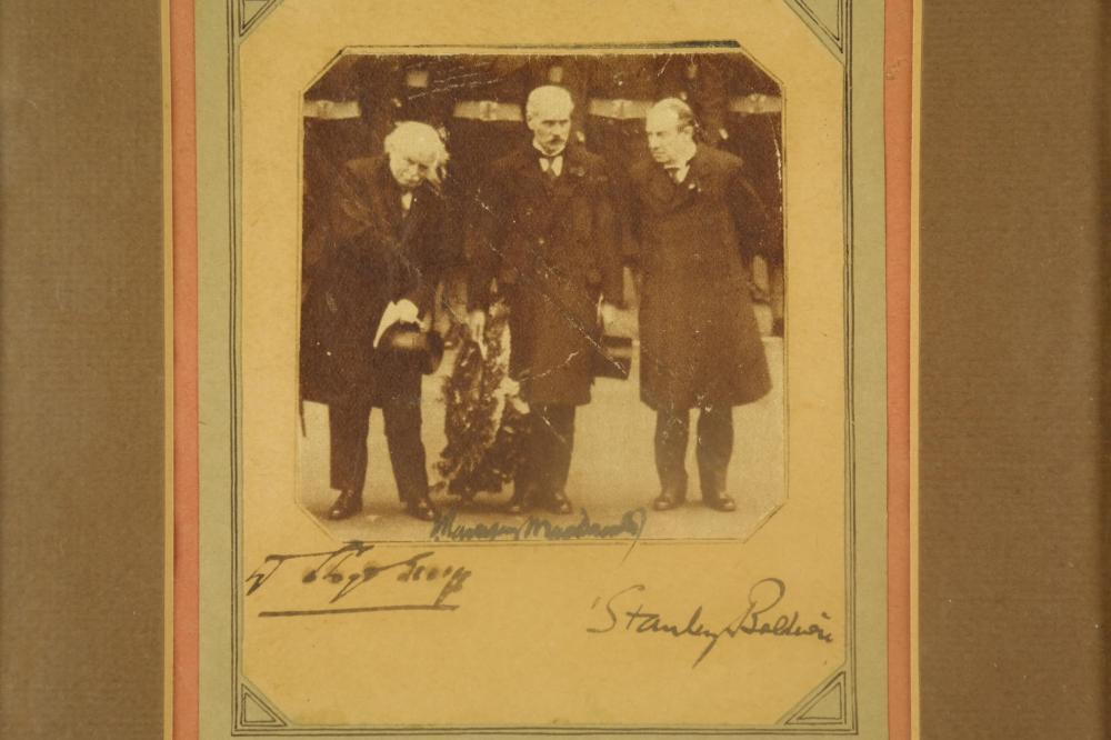 Lot 87: Baldwin, McDonald, Lloyd George. Photograph Sgd.