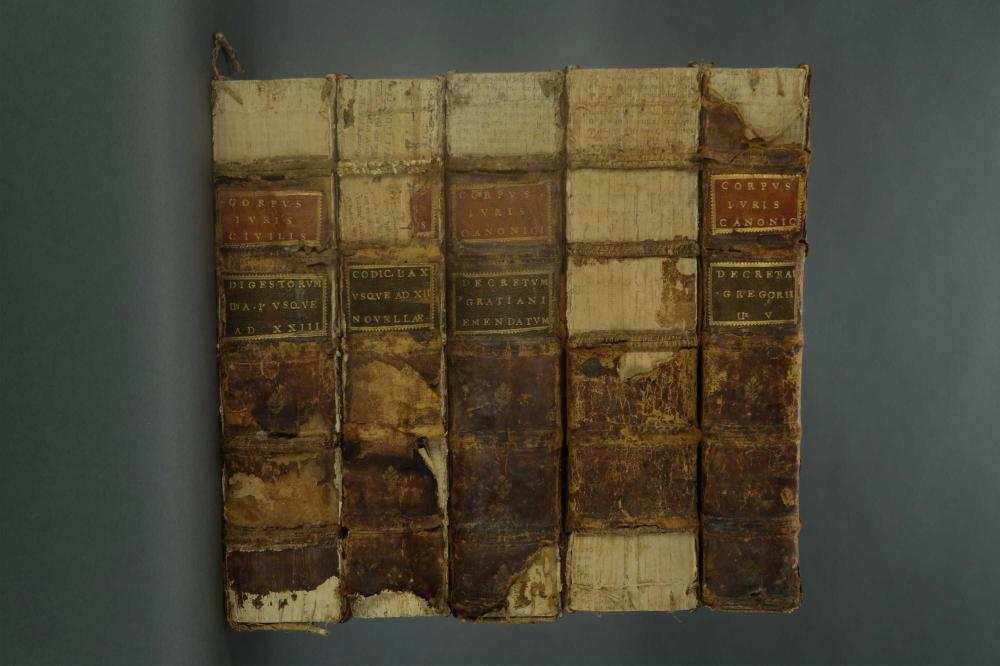 Lot 181: 5 vols. 3 from Corpus Juris Civilis Justinianei. 1612/13.