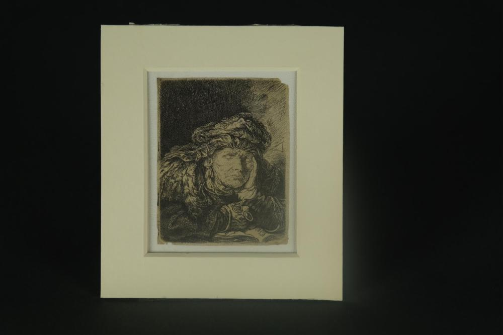 Lot 363: Rembrandt. Old Woman Sleeping. ca. 1635.