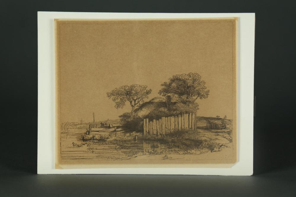 Lot 362: Rembrandt. Cottage with a White Paling. 1648.
