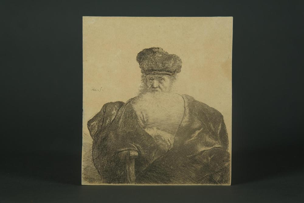 Lot 360: Rembrandt. Old Man Seated, With a Beard, Fur Cap..