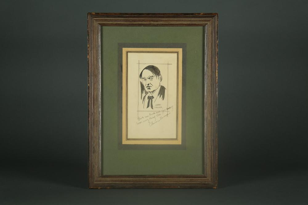 Lot 48: Clarence Darrow. Sketched Portrait Signed.