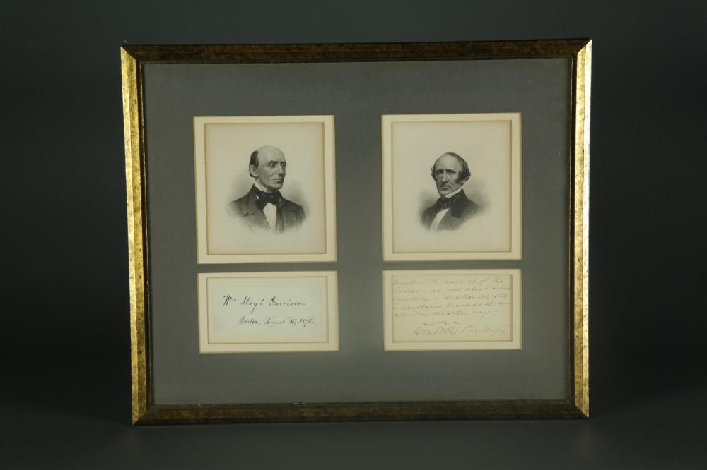 2 Sgd Pcs. W. Lloyd Garrison, Wendell Phillips.