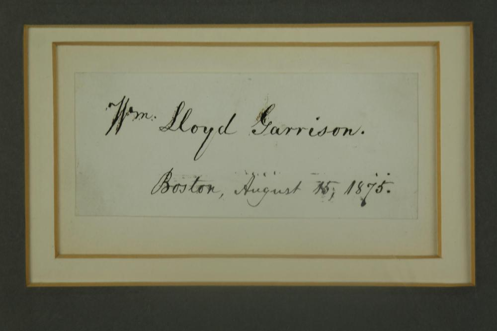 Lot 5: 2 Sgd Pcs. W. Lloyd Garrison, Wendell Phillips.