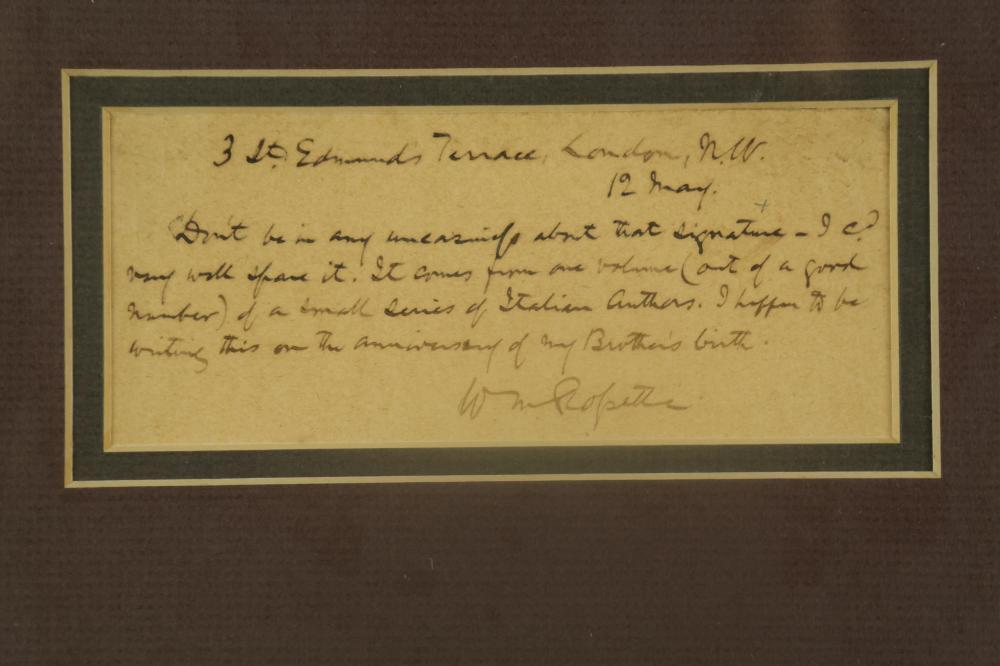 Lot 133: W.M. Rossetti. Autograph Letter Signed.