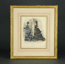 Lot 308: Jules David. 2 fashion watercolors. 1874.