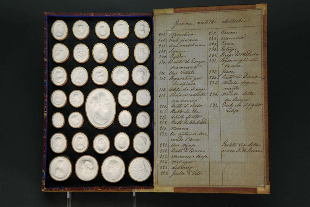 Lot 313: Paoletti Impronte. 68 cameos. Double sided. 1800s.
