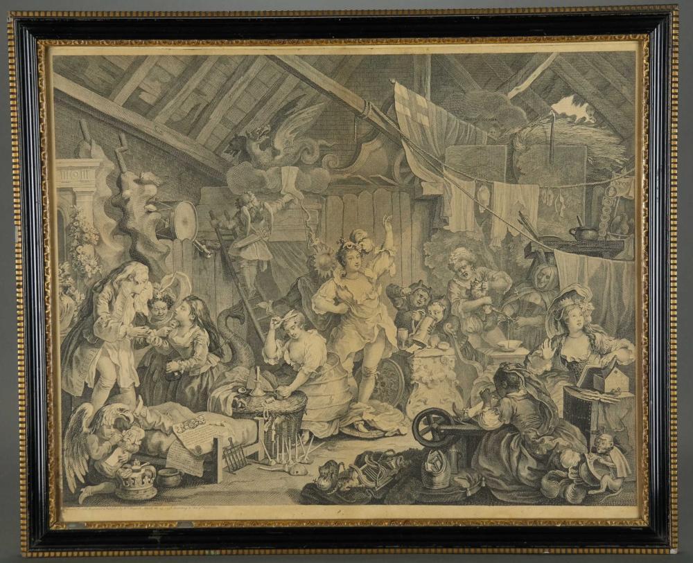 Lot 346: Pair of Hogarth Prints. O Roast Beef, Strolling.