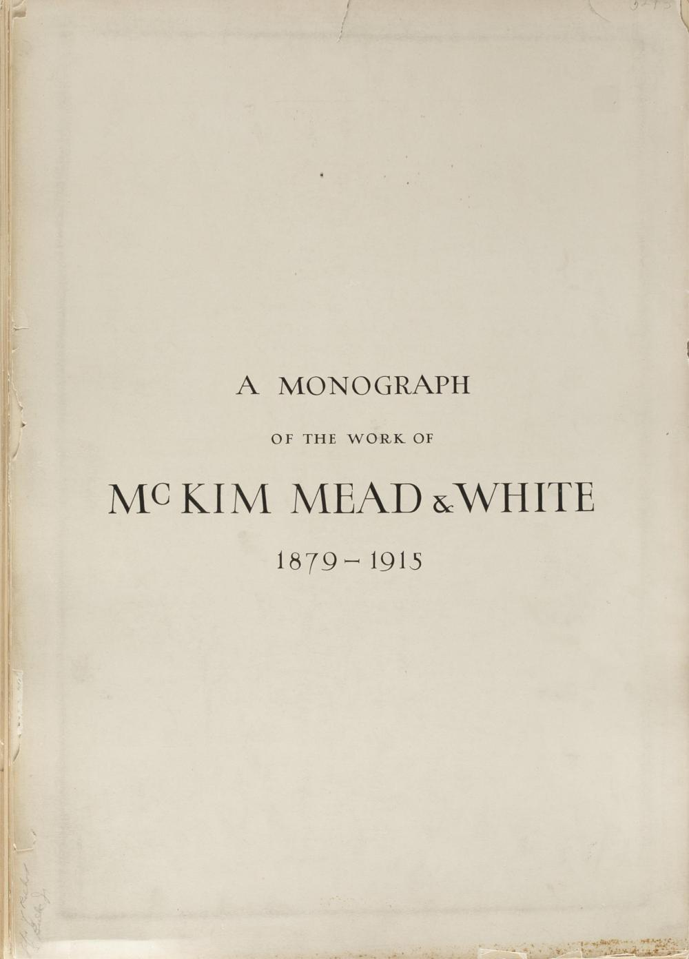 Lot 219: Monograph on the work of McKim Mead & White.
