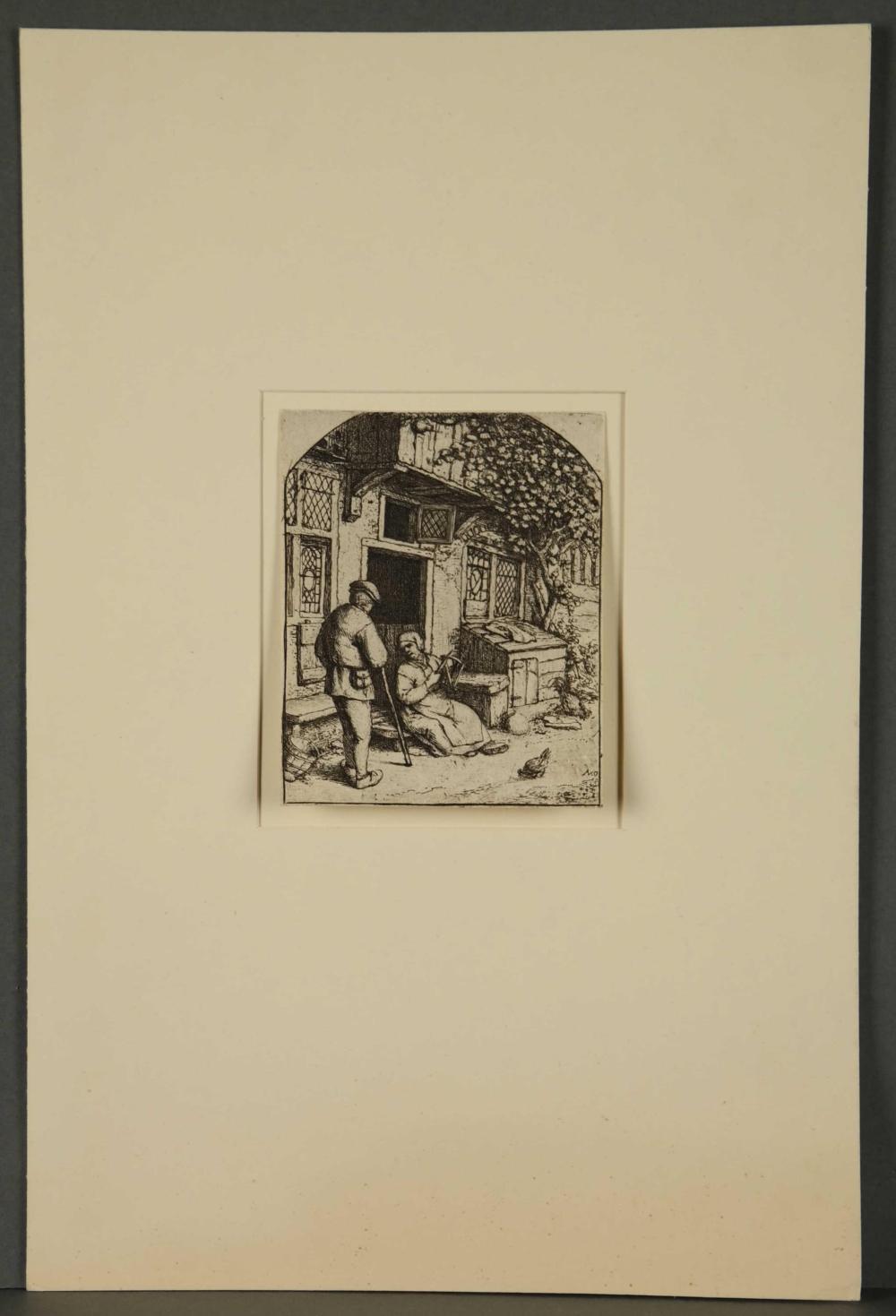Lot 354: Adriaen van Ostade. 2 etchings. 1672 & ca. 1684.
