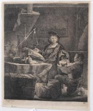 Lot 330: After Rembrandt. The Goldweigher. ca early 19th c.
