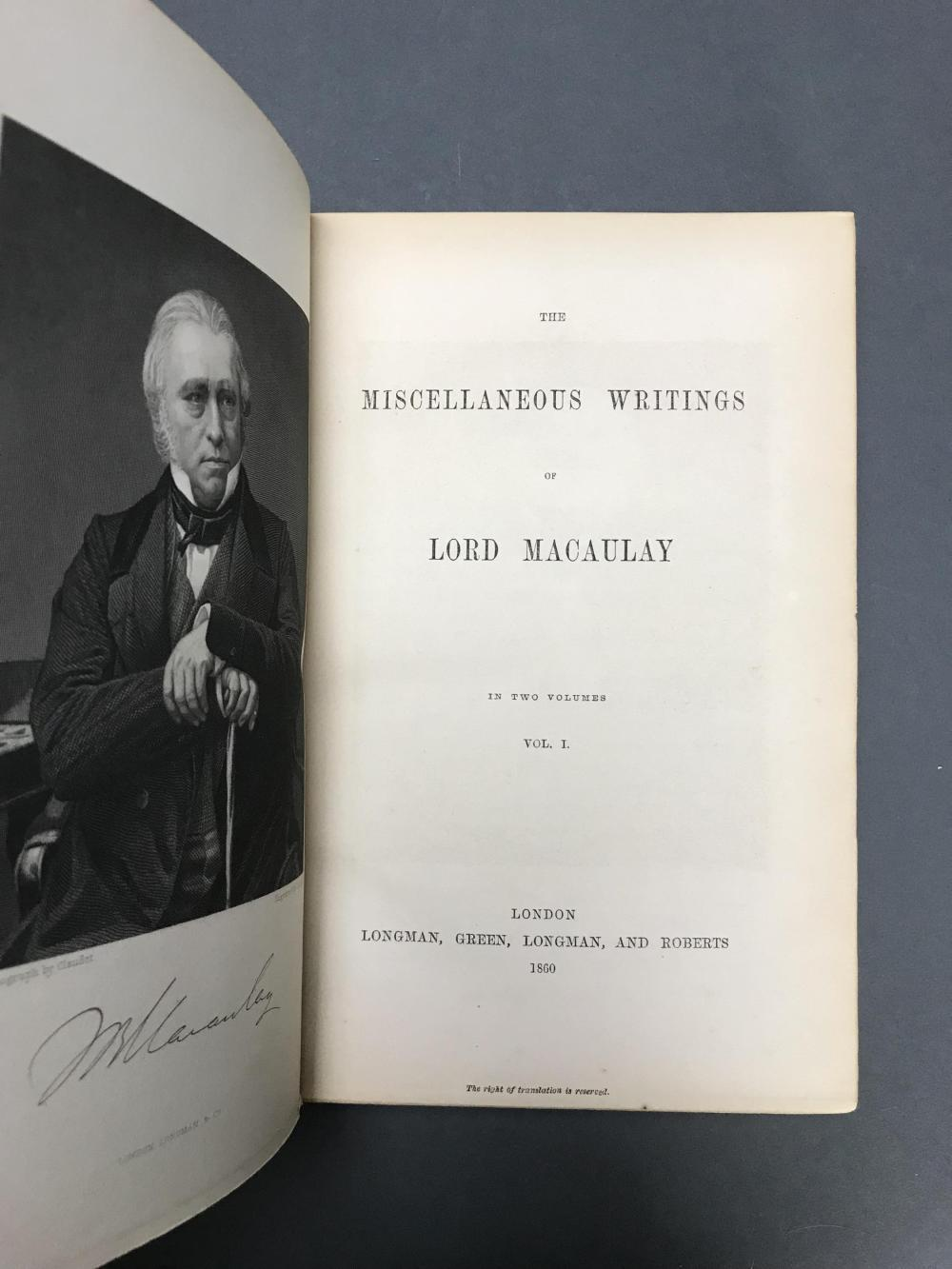 Lot 163: The Works of Lord Macaulay. 14 vols.