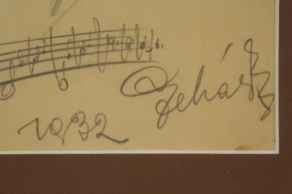Lot 83: Franz Lehar. Pencil Sketch Signed.