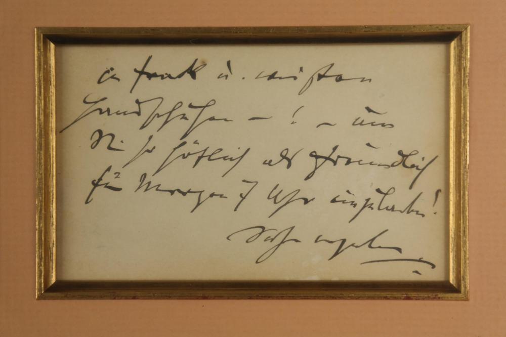 Lot 26: Johannes Brahms. Autograph Note Signed.