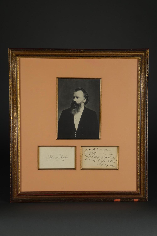 Johannes Brahms. Autograph Note Signed.