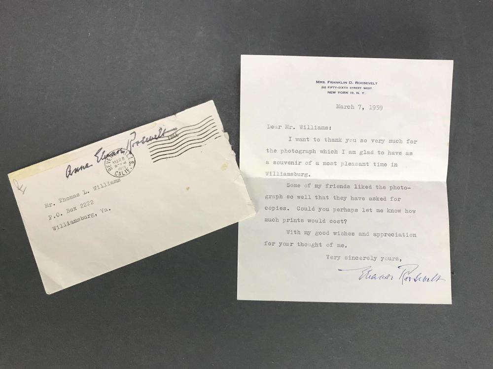 Lot 57: Eleanor Roosevelt signed photo, letter & envelope.