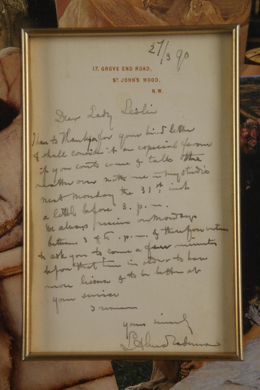 Lot 4: Lawrence Alma-Tadema. Autograph Letter Sgd. 1890.